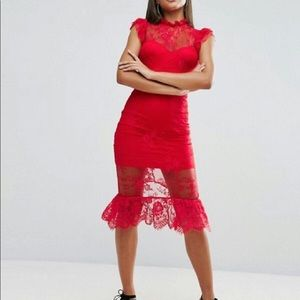 Lady in an All Red Lace Dress